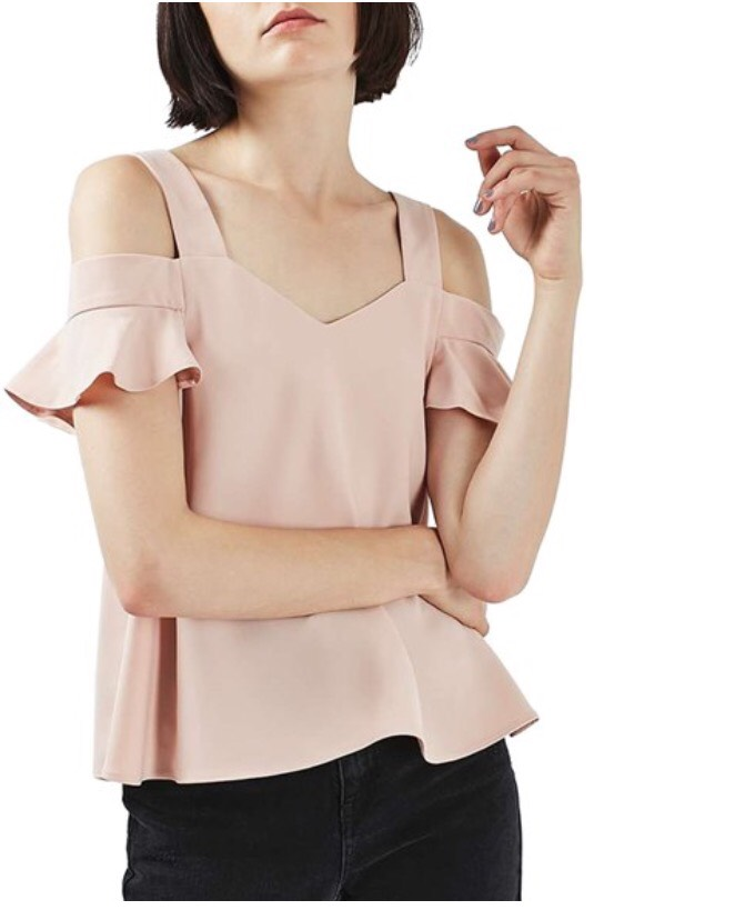 blush shoulder cut out blouse